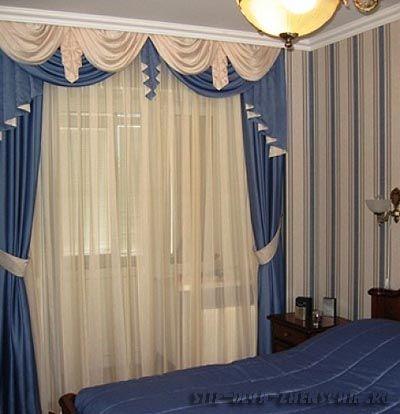 Плотные шторы с драпировкой для спальни.