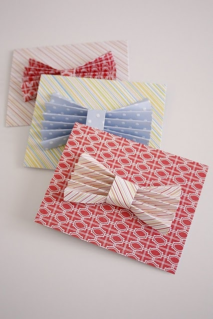 Father's Day Cards.  DIY gift cards, birthday cards & invitations.  Add an accordion folded paper bow to any tag or paper craft.