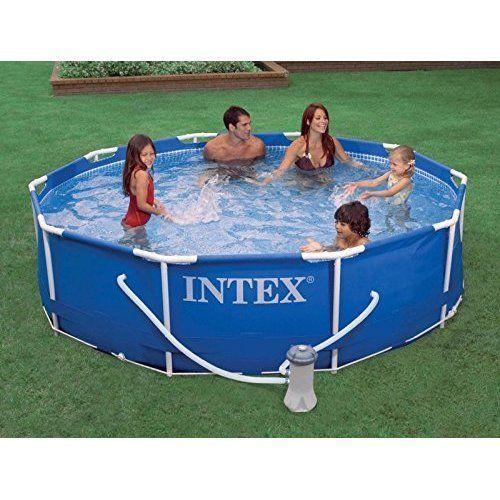 NEW Outdoor Metal Frame Swimming Pool Set w/ Pump & 6 Filters Summer Garden Yard #Intex