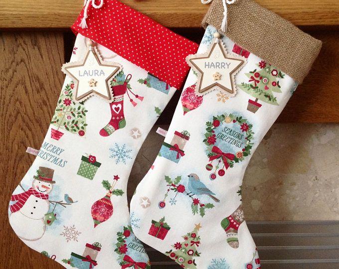 Festive Mix Christmas Stocking, Personalised Christmas Stocking, Hessian Christmas Stocking, Luxury Christmas Stocking