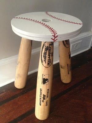 Baseball Bat Kids stool! Must make this for the boys!