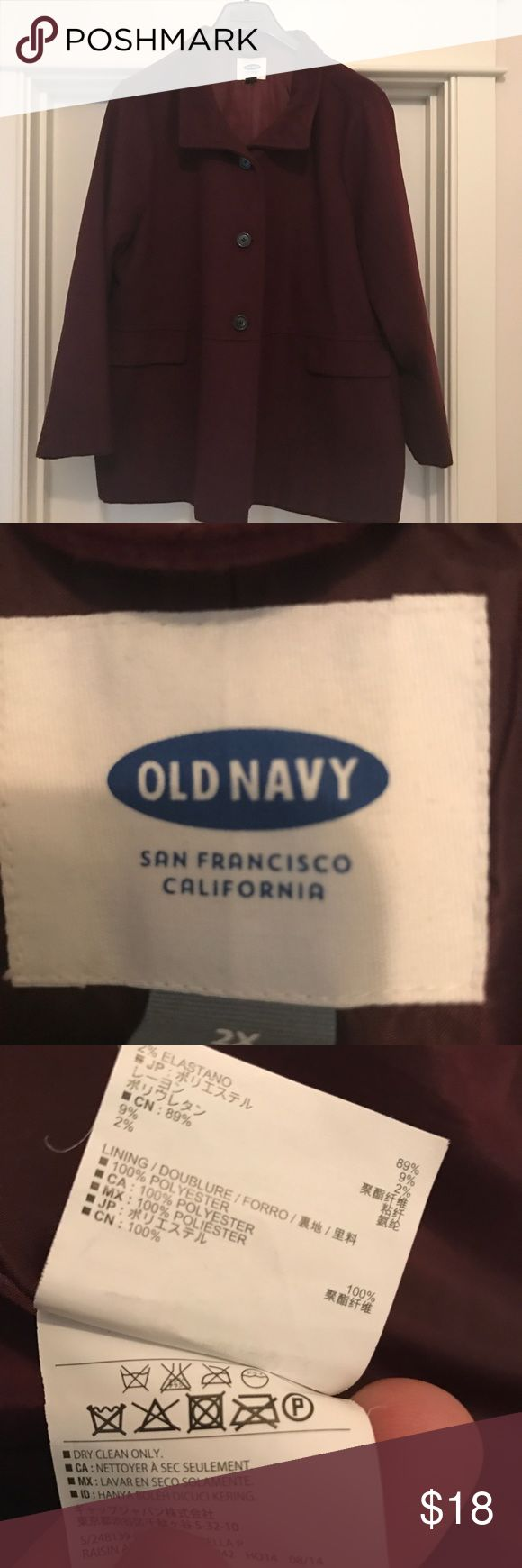 🎉FLASH SALE🎉 Old Navy Pea Coat Plus Size 2X Old Navy Women's Plus Size pea coat!  Maroon in color size 2X.   It's in great condition.  The pockets in the jacket are for looks only!  ❤️❤️. Love this one!  It won't last long! Old Navy Jackets & Coats Pea Coats