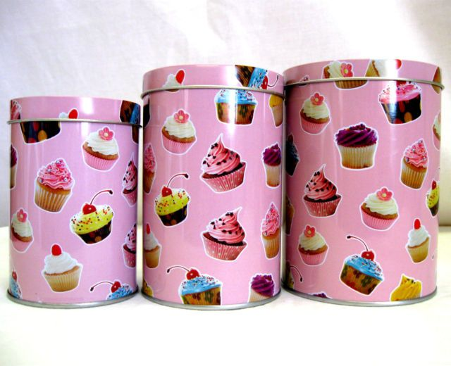 3 X Small Cupcake Canister Set Retro Kitchen Storage Caddy Tea Coffee Sugar Tins