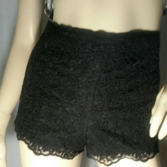 Black lace shorts Black lace shorts with side zipper...Show them what you're working with, hot stuff.  Forever 21 Shorts