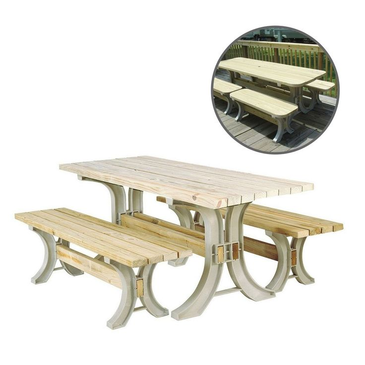 Outdoor Picnic Table Durable Dining Camping Portable Garden Resin Large Bench  #OutdoorPicnicTable