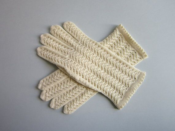 White Wool Lace Gloves for Womens Winter Gloves by AnitasHandmade