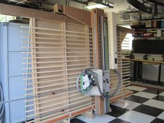 Vertical Panel Saw by Bob Fasano -- Homemade vertical panel saw utilizing MDF with linear bearings for the main carriage, which supports the removable Festool TS55 saw. http://www.homemadetools.net/homemade-vertical-panel-saw
