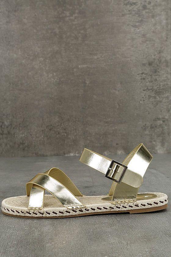 Glamorous Sunny Gold Espadrille Flat Sandals