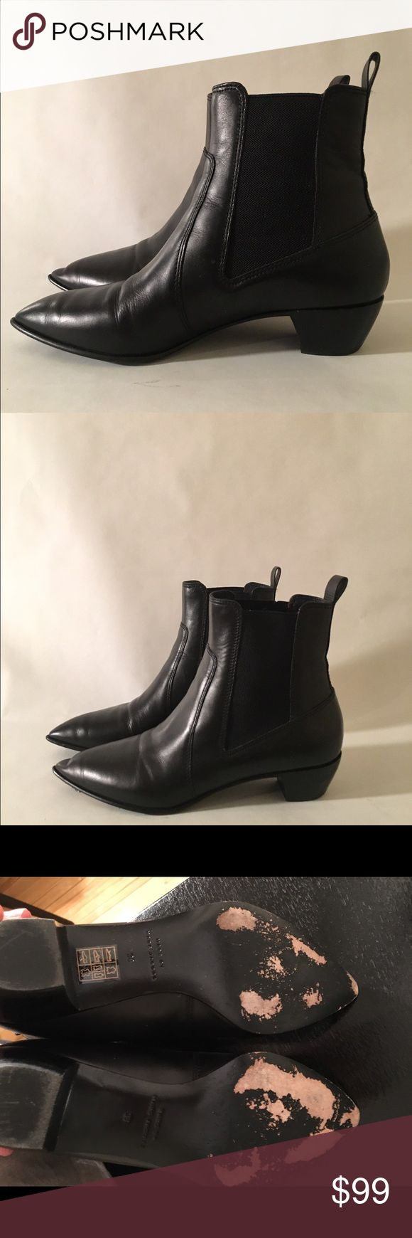 Marc by Marc Jacobs Leather Chelsea Boots Women's Black Reboot Lou Leather Chelsea Boots. Black leather boots, scuffing on bottom of shoe and crease on left boot toe. Super cute! Too many boots and need to sell. Fits size 38 perfect. 1.5inch heel. Looks cute with minidresses and skinny jeans. Marc by Marc Jacobs Shoes Ankle Boots & Booties