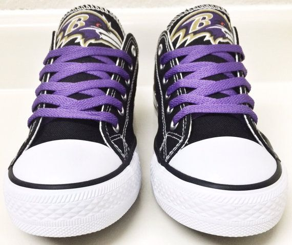 Custom BALTIMORE RAVENS WOMENS Low Tops Canvas by Coast2coastkicks