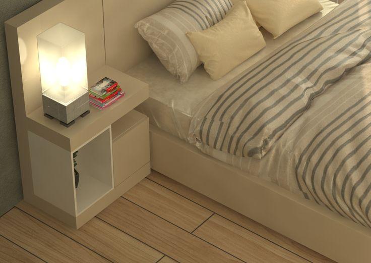 Diseño nochero y cama