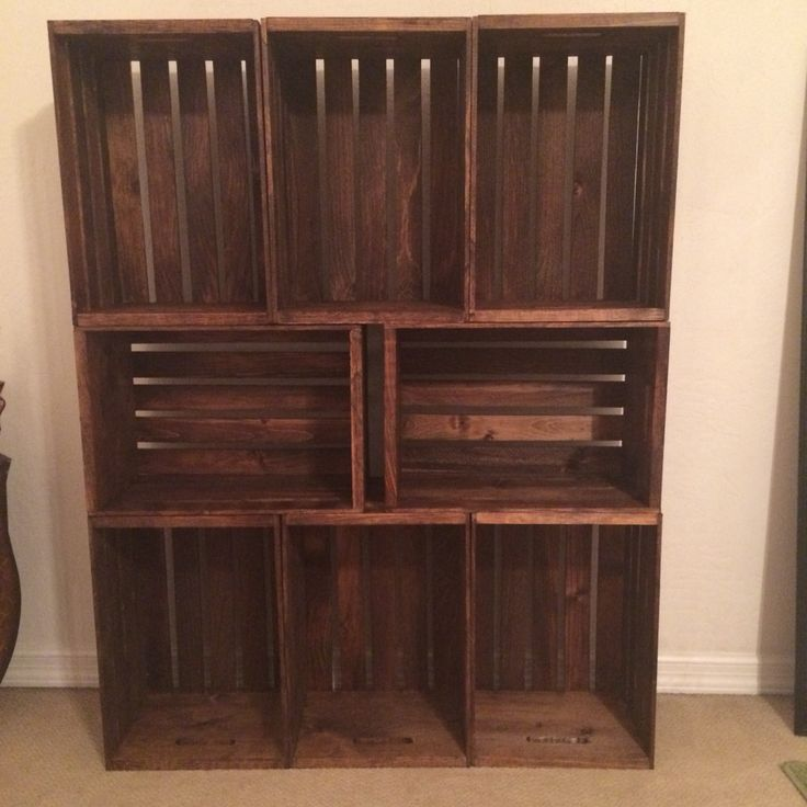 DIY crate bookshelf stained and stacked