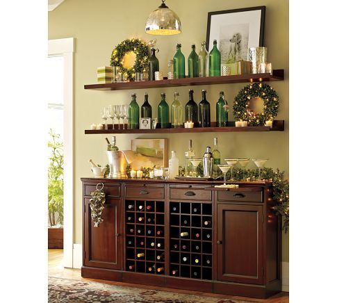 shelving and dry bar idea - only need more room for glassware to be displayed