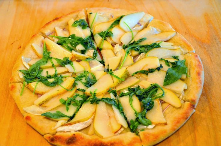 Mennonite Girls Can Cook: Brie, Pear, and Arugula Pizza - can substitute the cheese for what you have on hand and the greens as well.