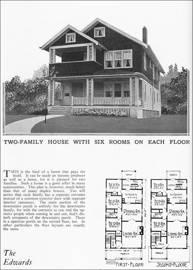 1925 vintage duplex house plan for two families radford for Home design resources