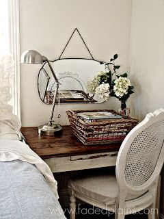 I like the idea of the desk snugly between the wall and bed.  Vintage, French  Country Bedroom Decor