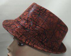 Trilby Hat - Rust Brown & Black zig zag 57