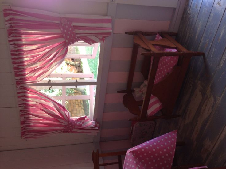 Curtains and cot bedding made by me. Wooden cot made by my late grandfather.