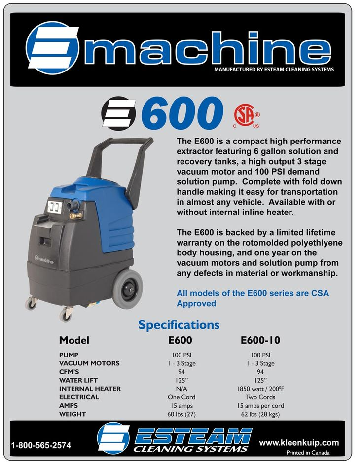 The E600 is a professional strength hot water upholstery cleaning machine extractor that features high performance components in a compact, durable two tone polyethylene housing. Perfect for both carpet & upholstery cleaning and automotive detailing jobs. Remove grease, grime, spots, spills and stains quickly and effectively.