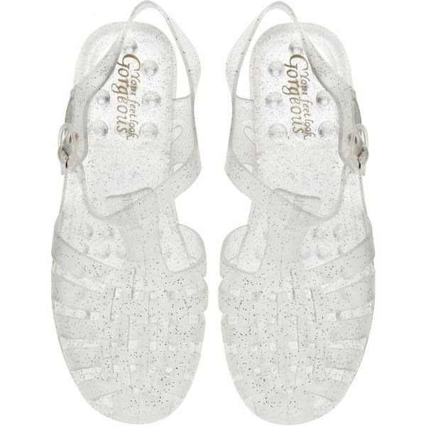 New Look Hawaii Jelly Silver Flat Sandals (€13) ❤ liked on Polyvore featuring shoes, sandals, silver flat shoes, jelly sandals, flat sandals, adjustable shoes and flat shoes