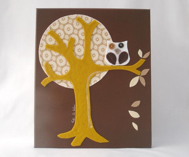 Children decor Art for Kids Owl in Felt 30x25cm by anoudesign