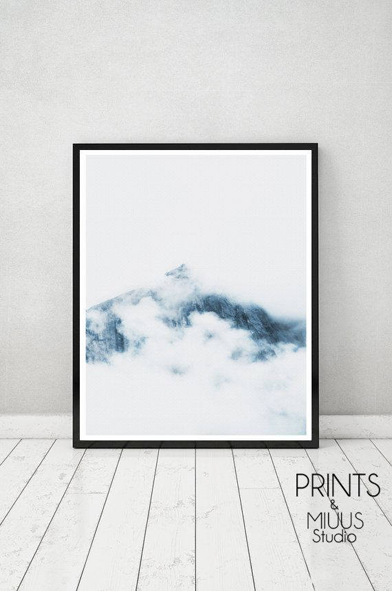 Photography Mountains Clouds Art Print Modern by PrintsMiuusStudio