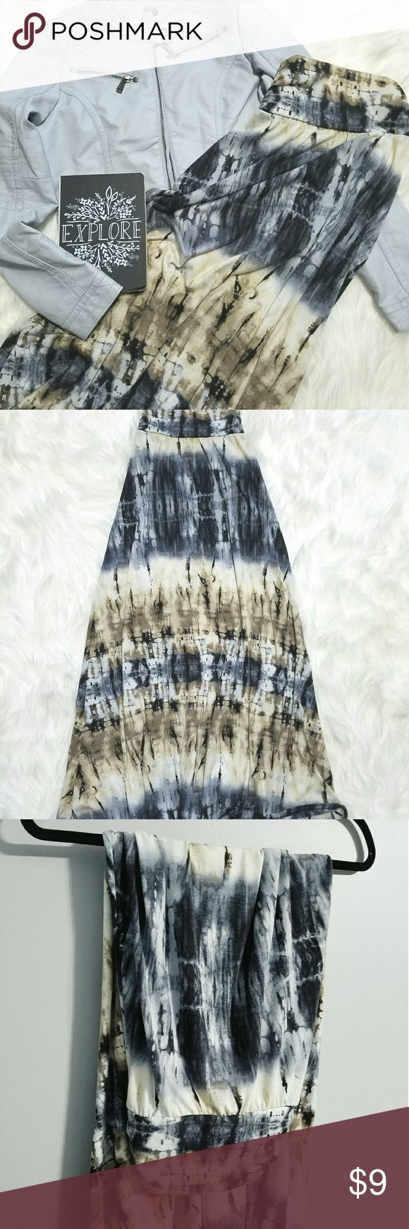 """Maxi Skirt Tie dye blue, cream and tan maxi skirt.   Size: XS  Condition: preowned with minor wear from wash and wearing, some pilling, see last pic  Measures: 12"""" waist, 40"""" length Joe B Skirts Maxi"""