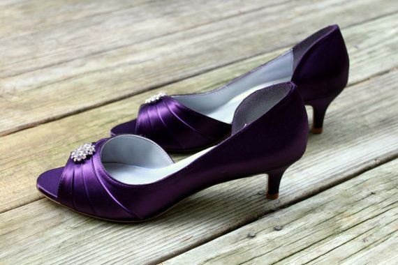 Purple Bridal Shoes Low Heel