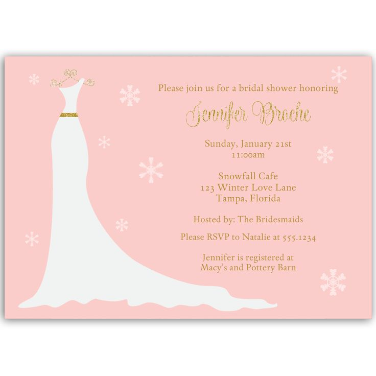 recipe themed bridal shower invitation wording%0A Winter Gown Blush and Gold Bridal Shower Invitation