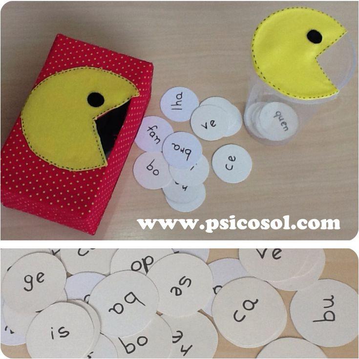 """Este jogo pode ser utilizado de maneiras diferentes: letras, palavras, textos, tabuada... Para o papassílabas você vai precisar: - Uma caixa ou um pote com um furo; - fichas com sílabas. Procedimento: Diga para a criança: """"Este é o papassílabas,…"""