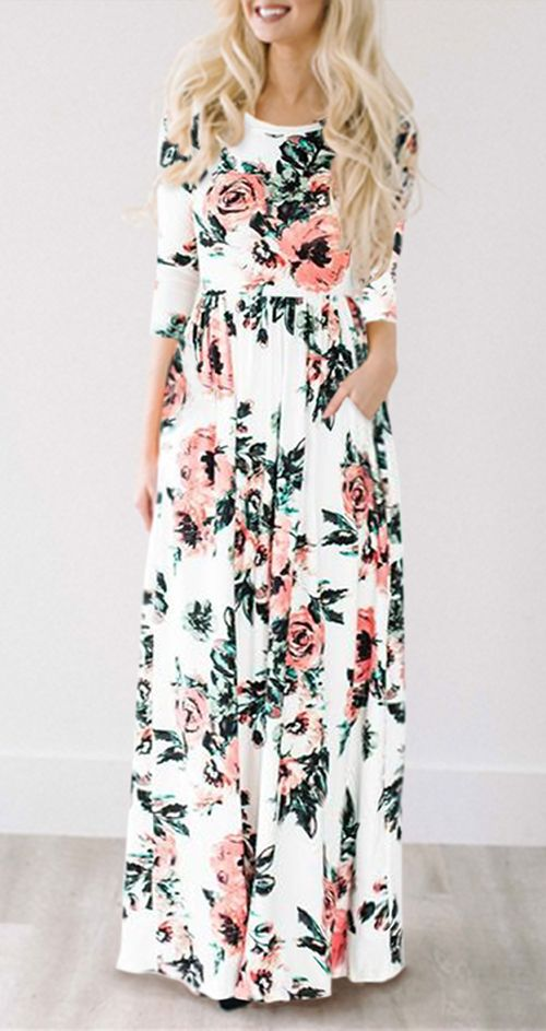 $34.99 for this Ecstatic Harmony White Floral Print Maxi Dress /Maxi White Floral Long Dress