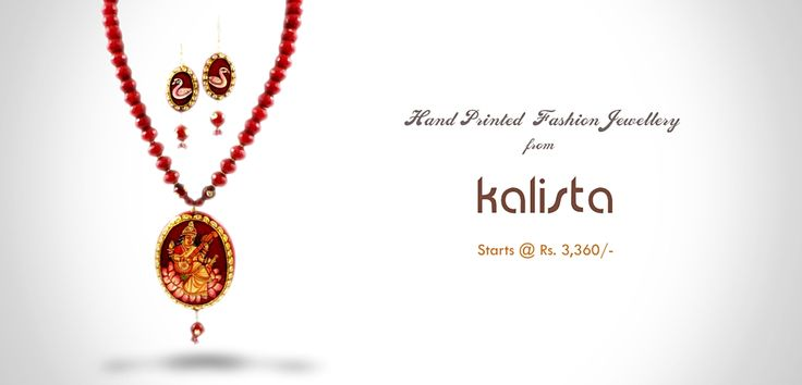 Hand painted jewellery from Kalista only at www.5nhalfyards.com