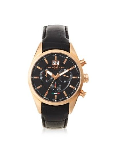 awesome Officina Del Tempo OT1037/130NGN Elegance Black Leather Chronograph Watch