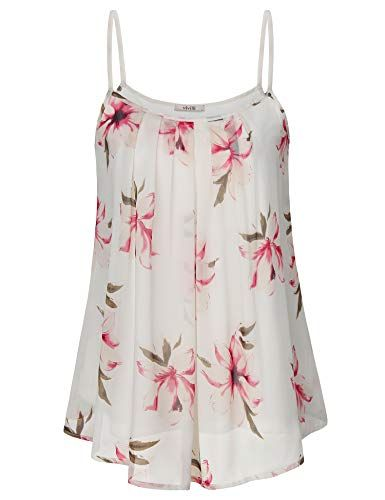 5536d3e567dc9 Vivilli Women s Summer Cool Casual Sleeveless Spaghetti Strap Pleated  Chiffon Layered Floral Cami Tank Top (