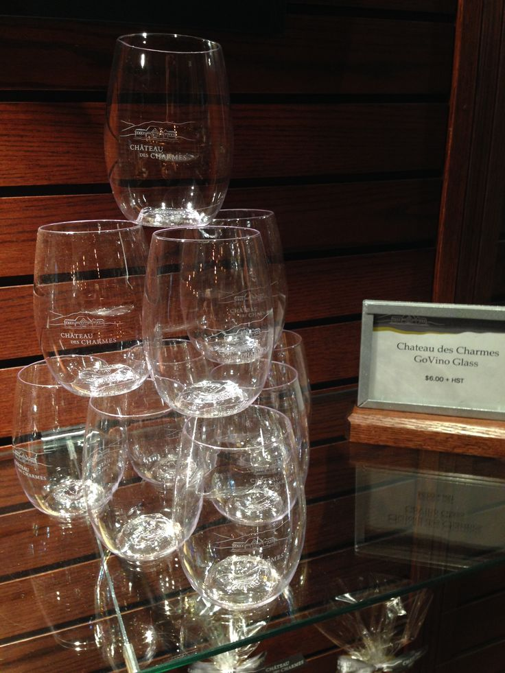 Custom branded govino 16oz wine glasses for Chateau Des Charmes in Niagara on the Lake #VQA