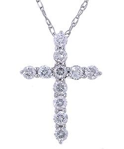 traditional diamond cross necklace