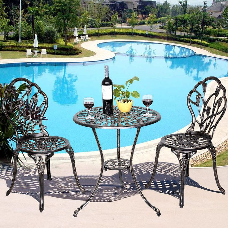 $93.99 FREE Shipping   GOPLUS Cast Aluminum Patio Furniture Tulip Design  Bistro Set Antique Copper #