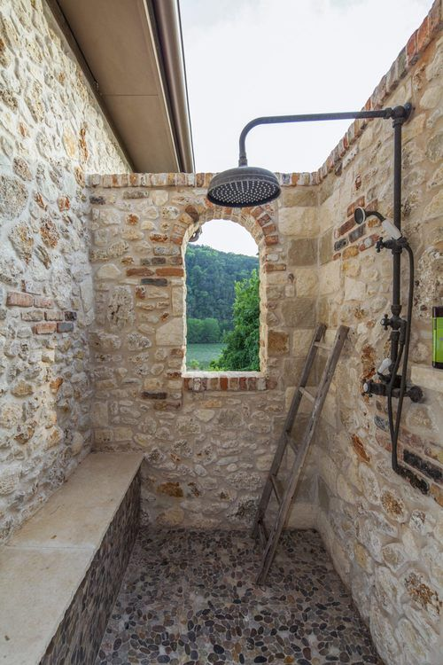 Architecture Home Eclectic old world outdoor shower