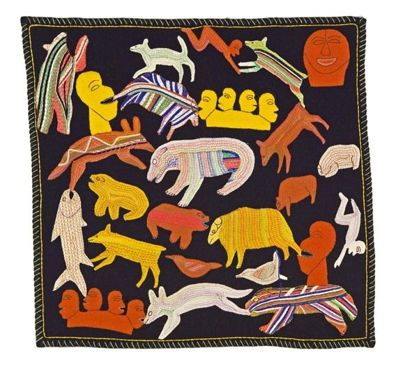Naomi Ityi  Untitled, c. 1973  Wool felt, embroidery floss on wool duffle.  - Winnipeg Art Gallery