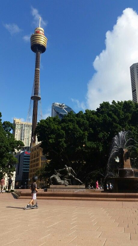 Sydney tower.  Kai travelling with kids