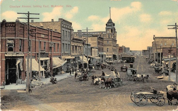 McAlester Oklahoma CHOCTAW Avenue Looking East Antique Postcard J10552 | eBay