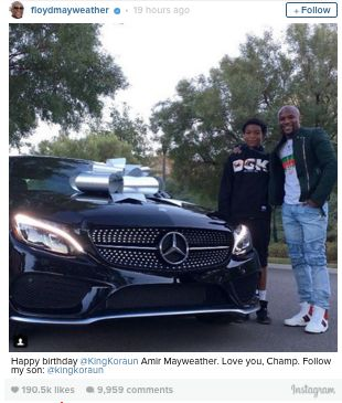 Floyd Mayweather Buys Mercedes For 16-Year-Old Son