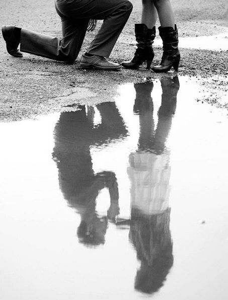 love this for a country couple using the reflection from the stock pond!