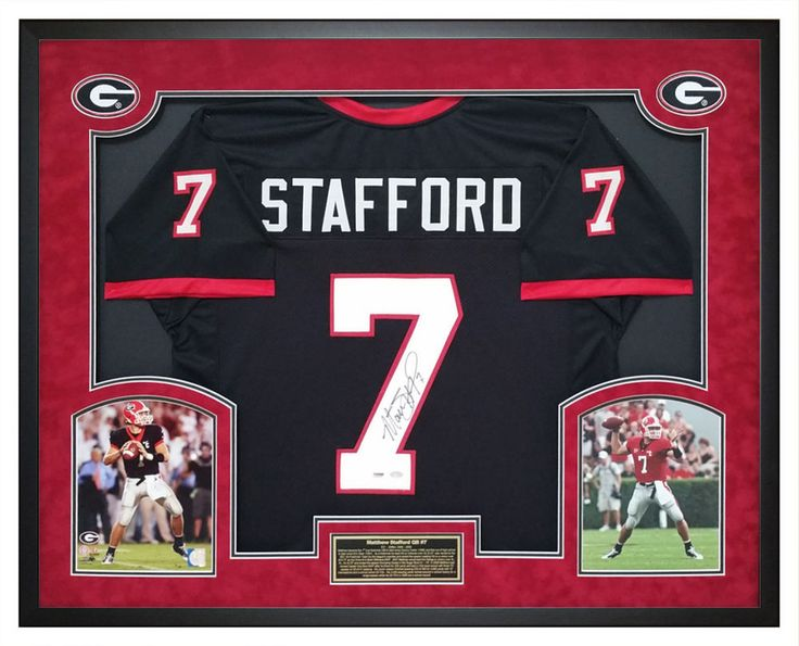 matthew stafford autographed ga bulldogs black jersey custom shadow box psa will make