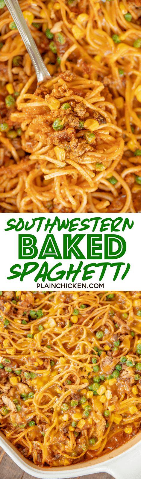 Southwestern Baked Spaghetti Recipe – great make-ahead dinner! Baked spaghetti l…