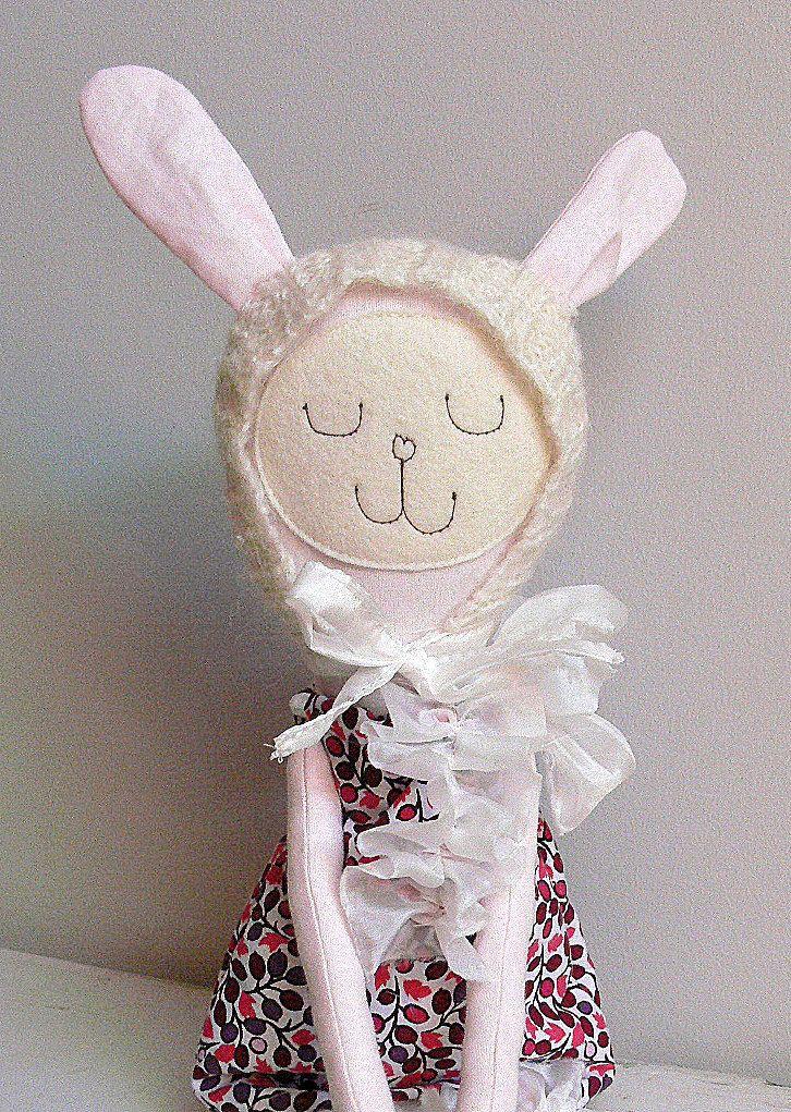 Bunny Doll, Rag Doll, Dress up Doll, Nonsynthetic toy,  FILOMENA by MiniwerkaToys on Etsy