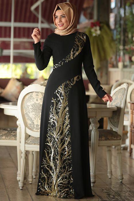 Zümre By Ayşe Uçak Siyah Ayşe Sultan Tesettür Abiye Elbise