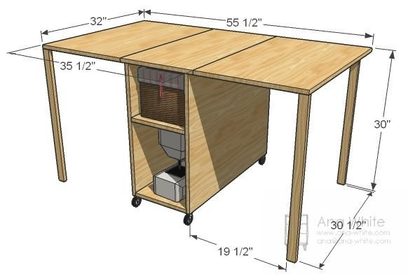 A Sewing Table for Small Spaces by Ana White