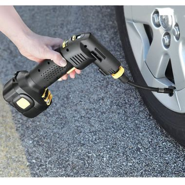 The Only Automatic Cordless Tire Inflator - Hammacher Schlemmer