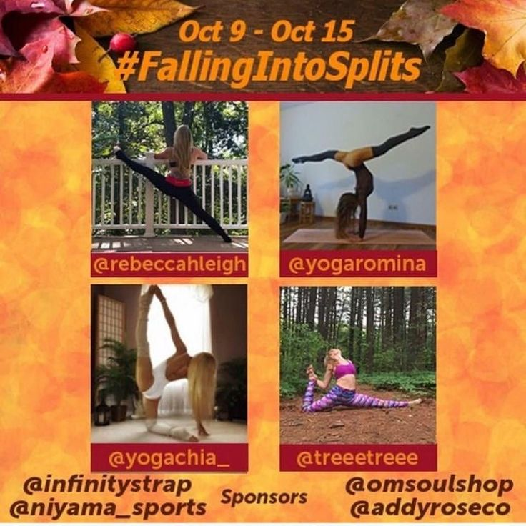 Joining my friend Rebecca for  #FallingIntoSplits #YogaChallenge from Oct 9 - Oct 15.  I haven't done a challenge in a while but this one is open to all levels & modifications! Additional info is below. Hosts @yogachia_ @rebeccahleigh @yogaromina @treeetreee Sponsors @infinitystrap @niyama_sports @omsoulshop @addyroseco Use code Rebeccahleigh17 to get 10% off your purchase Poses 1. Half splits 2. Straddle (legs up the wall) 3. Horizontal splits 4. Middle splits 5. Vertical splits 6. Floating…